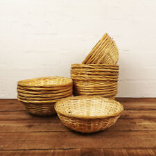 Set of 24 Natural Bamboo Round Baskets Wicker Snacks Storage Bowl Display Hamper