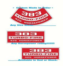 Chevy SB• Air Cleaner+Valve Cover Decals SET• Any CID • Any HP > Custom Made!