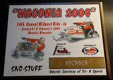YAMAHA SNOWMOBILES WACONIA RIDE IN 2004 LIMITED COLLECTOR SPONSOR PLAQUE