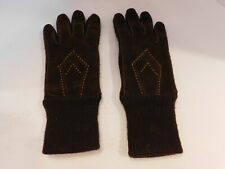 DESIGNER MENS BROWN SUEDE WINTER GLOVES ACRYKIC KNITTED LINING  SIZE LARGE