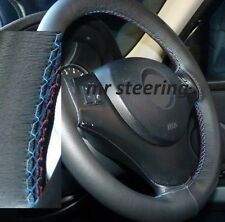 FOR BMW 6 SERIES E63 03-10 REAL BLACK LEATHER STEERING WHEEL COVER M3 /// STITCH