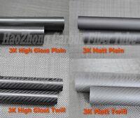 1m 1-4pc 30MM OD X 28MM ID X 500MM Roll Wrapped Carbon Fiber Tube 3K//Tail tube