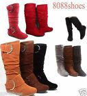 Women's Cute Slouch Comfort Casual Flat Heel Mid Calf Round Toe Boot shoes New