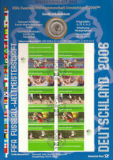 """Germany """"Numisblatt Soccer WC/2003"""", 10 Euro comm. coin+FDC mini stamp sheet"""