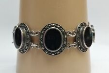 Vintage Sterling Silver Oval Onyx and Marcasite Bracelet 7 1/4 Inches