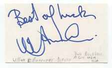 William E. Hornecker Signed 3x5 Index Card Autographed Signature Film Director