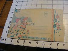Vintage 1954 Unused Get Well Card w/ MOBILE OF KIDS SWING SET, PARK STUFF so coo
