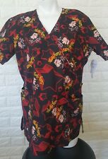 BETTY BOOP BLACK COLOR WITH RED STAR SCRUB UNIFORM TOP S NWT