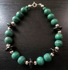 14K Gold Stamped, Vintage, Natural Malachite and Onyx Beads Bracelet.