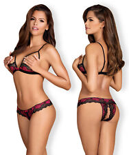 OBSESSIVE Tulia Luxury Open Cup Padded Bra and Matching Crotchless Brief Set