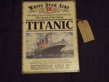 "TITANIC SHIP METAL PICTURE PLAQUE SIGN ""THE QUEEN OF THE OCEAN""- WHITE STAR LINE"