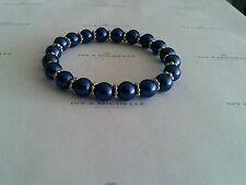 Glass Pearl Dark Lapis w/ Silver Metal Daisy Shape Bead Stretch Bracelet