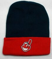 READ LISTING! Cleveland Indians HEAT Applied Flat Logo on Beanie Knit Cap hat