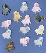 Glitter Glitz Sheep Die Cuts - 1 Dozen (12) Glittery Assorted Die Cuts