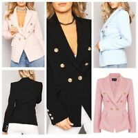 Womens Double Breasted Gold Button Front Military Style Suit Blazer Coat Jacket