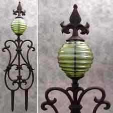 FLEUR-DE-LIS & GREEN GLASS GLOBE Cast Iron GARDEN STAKE Yard Art Garden Decor
