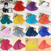 Women New Pashmina Scarf Soft Wrap Shawl Scarf Long Stole Crinkle Candy Colors P