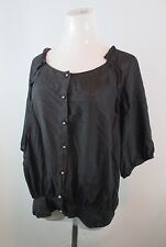 BLACK ELIE TAHARI WOMENS LOOSE FIT SILVER ROUND BALL BUTTONS LONG SLEEVE SHIRT 4