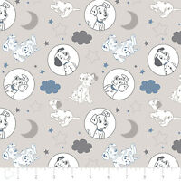 Disney 101 Dalmatians Time for Bed Grey Camelot 100% Cotton fabric by the yard
