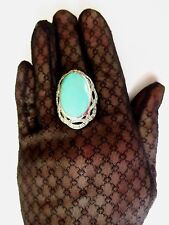 Sterling Silver Large big Turquoise Marcasite Statement Ring Victorian Style O½