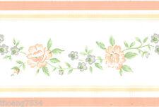 Peach Blue Tea Rose Flower Floral Vine Leaf Cream Country Mini Wall paper Border