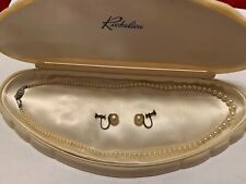 RICHE LIEU 1950'S CULTURED PEARL NECKLACE AND EAR RINGS + VINTAGE BOX