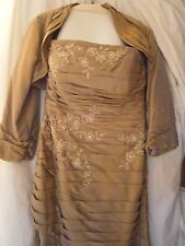 JADE Wedding Bridesmaid DRESS Strapless Mother of Bride Formal TAUPE w/ CAPE 12