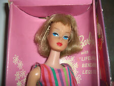 VINTAGE BARBIE LONG HAIR BLONDE AMERICAN GIRL-BEND LEG-SHOES & BOOKLET CELLO-MIB
