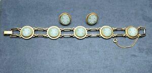 Wedgwood Green Jasperware Cherub Cameo Link Bracelet & Earrings Van Dell 14 K GF