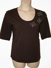 BNWT size Large SMART beaded ladies TOP Chocolate STARS & ANGELS by MICHELE HOPE