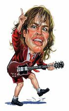 AC/DC Angus Young Caricature 70's-80's Heavy Metal Sticker or Magnet