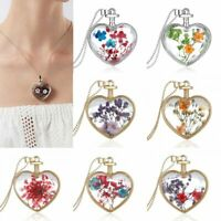 Women Heart Dried Flowers Sliver Plated Bead Chain Pendant Necklace Jewelry Gift