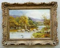 ROBERT JOHN HAMMOND Antique 1800'S 19C Oil Painting Fly Fishing River Landscape