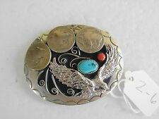 BELT BUCKLE EAGLE 3 BUFFALO NICKLES 1-TURQUOISE, 1-CORAL, SOUTHWEST Z-6