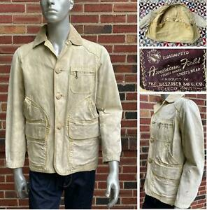 AWESOME VINTAGE 1940s AMERICAN FIELD CANVAS HUNTING JACKET