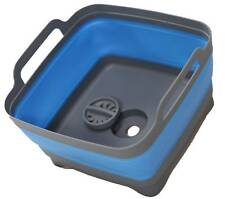 Space Saving Collapsible Blue Sink Wash Tub Silicone New Caravan Boat RV Camping