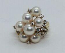 Mikimoto Authentic 18k Yellow Gold Pearl & Diamond Ring Size 7