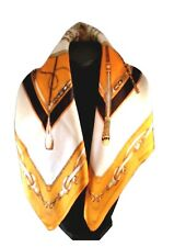 St. Germain Mulberry Silk Scarf Classic Orange Equestrian 52cm FREE SCARF RING