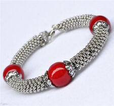 Tibetan Silver Red Coral Bead Woman Bracelet Ladies Bangle