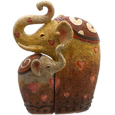 Cute Elephant Mother & Baby Hugging Family Heart Statue Ornament