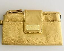 Nine West Wristlet Gold Leather Clutch Bag Purse With Zipper + Wallet