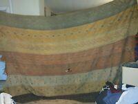 Vintage Blanket Striped Tribal Hand Woven Textile Blanket American Wool
