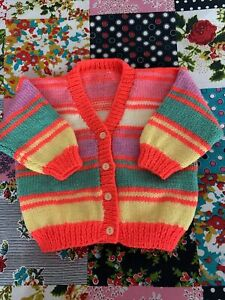 """Hand Knitted Girls Cardigan Size 24"""" Chest"""