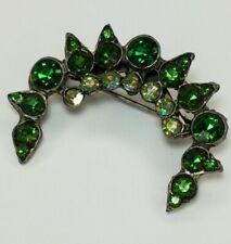 Antique Emerald Green Glass Crystal Crescent Moon AB Pot Metal Pin Brooch Art