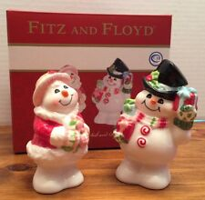"New Fitz & Floyd ""Flurry Folks"" Snowmen Salt & Pepper Shakers - (17-273)"
