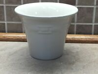 """Longaberger Pottery Woven Tradition Large Ivory  Flower Pot 4 1/2"""" Tall,"""