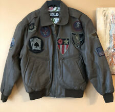 Vintage 100% Leather Bomber Jacket w/ Military Europe Patches Fighter Pilot (L)