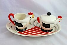 Vintage Art Deco Coq Rouge Creamer & Sugar on Tray Pottery Rooster