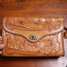 Vintage 70s Genuine Brown Leather Hand Tooled Big Floral Mexican Texas Purse