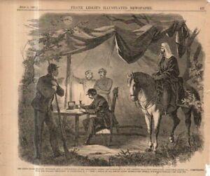 1861 Leslie's - July 6 - Original print only; Telegraph office at Alexandria VA